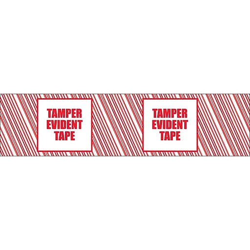 """Tape Logic 2"""" x 110 yds. x 2.5 mil """"TAMPER EVIDENT"""" Security Tape,  Red/White, 36/Carton"""