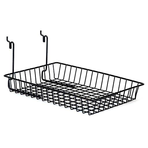 "Wire Basket, Black, 10"" X 14"" X 2"", 6/Pack"