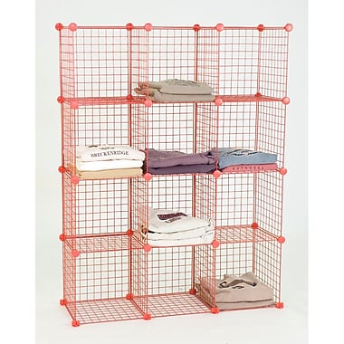 Mini Grid Unit, 12 Shelves, Red