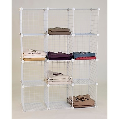 Mini Grid Unit, 12 Shelves, White