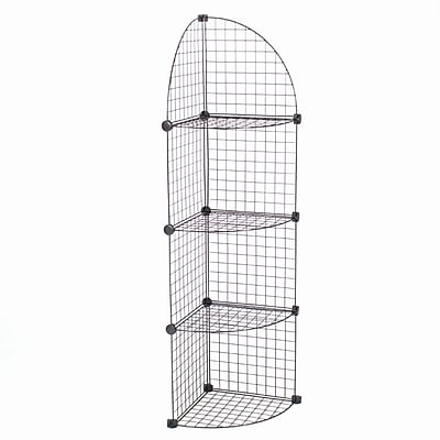 Mini Grid Corner Unit, 4 Shelves, Black