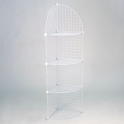 Mini Grid Corner Unit, 4 Shelves, White