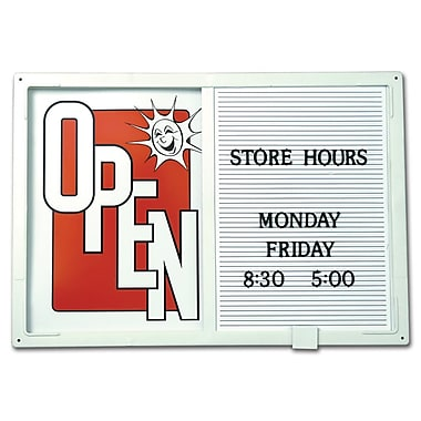 Open/Closed Sign W/ Message Board, Horizontal, White