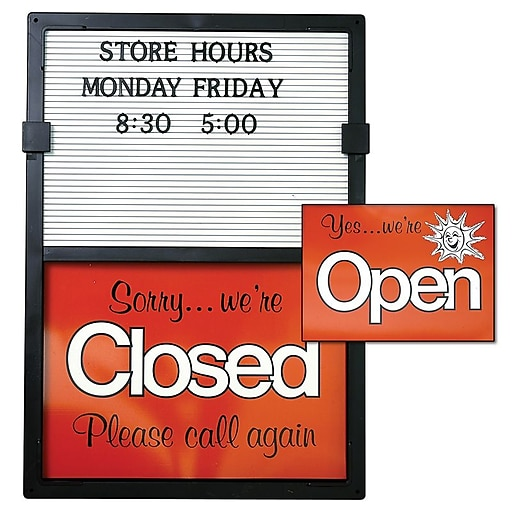 """KC Store Fixtures 12204 20"""" x 14"""" """"Open/Closed"""" Message Board"""