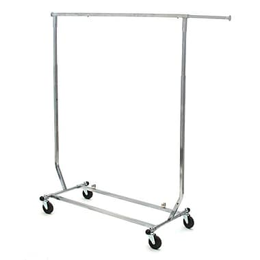 Salesman Rolling Rack, Collapsible, Square Tubing, Chrome