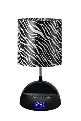 LighTunes™ Bluetooth Speaker Lamp With Alarm Clock/FM Radio/USB Charging Port, Zebra Shade