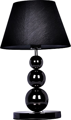 Elegant Designs Metal 3 Tier Ball Table Lamp, Pearl Black Finish