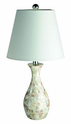 Elegant Designs Trendy Seashell Tiled Mosaic Look Curved Table Lamp, Chrome Finish