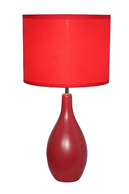 Simple Designs Oval Base Ceramic Table Lamp, Red Finish