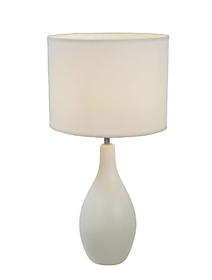 Simple Designs Oval Base Ceramic Table Lamp, White Finish