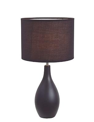 Simple Designs Oval Base Ceramic Table Lamp, Black Finish