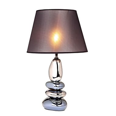 Elegant Designs Stacked Ceramic Table Lamp With Chrome and Metallic Blue Stones, Chrome Finish