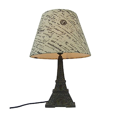 Simple Designs Eiffel Tower Lamp With Paris Shade, Blue Slate Finish