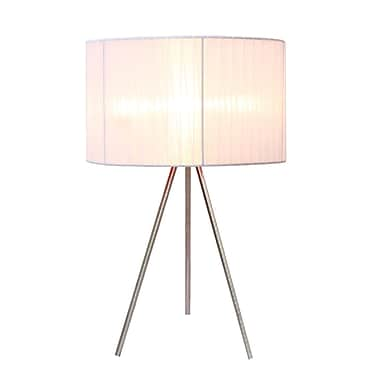 Simple Designs White Sheer Silk Band Tripod Table Lamp, Brushed Nickel Finish