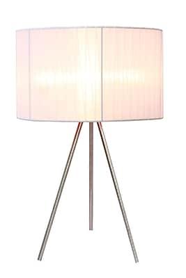 Simple Designs White Sheer Silk Band Tripod Table Lamp, Brushed Nickel Finish