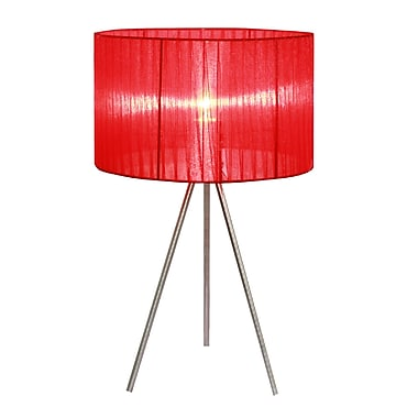 Simple Designs Red Sheer Silk Band Tripod Table Lamp, Brushed Nickel Finish