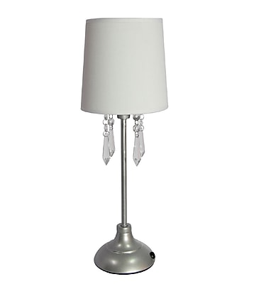 Simple Designs Table Lamp With Shade and Hanging Acrylic Beads, White
