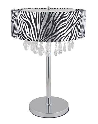 Elegant Designs Trendy Crystal Table Lamp With Zebra Print Drum Shade, Chrome Finish
