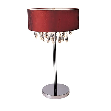 Elegant Designs Trendy Crystal Table Lamp With Red Drum Shade, Chrome Finish