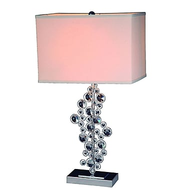 Elegant Designs Sequin Table Lamp With Prismatic Crystals, Chrome Finish