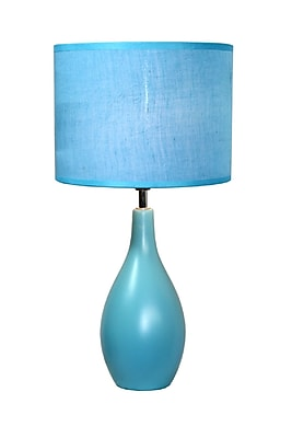 Simple Designs Oval Base Ceramic Table Lamp, Blue Finish