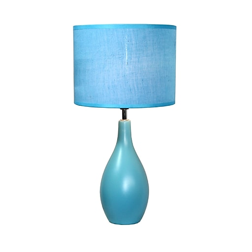 Simple Designs Oval Base Ceramic Table Lamp, Blue Finish