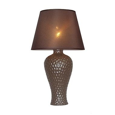Simple Designs Texturized Curvy Ceramic Table Lamp, Brown Finish