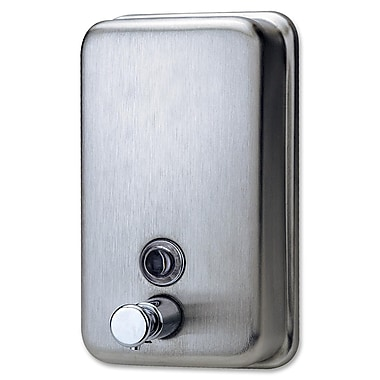 Genuine Joe® 31.5 oz. Manual Soap Dispenser, Stainless Steel