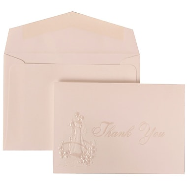 JAM Paper® Thank You Cards Set, Bright White with Wedding Theme, 104 Note Cards with 100 Envelopes (BW87152)