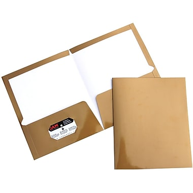 JAM PaperMD – Chemises de présentation lustrées à 2 pochettes, 9 1/4 x 11 1/2 po, doré