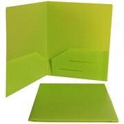 JAM PaperMD – Chemises de présentation en plastique robuste à deux pochettes, 9 x 12 po, vert lime