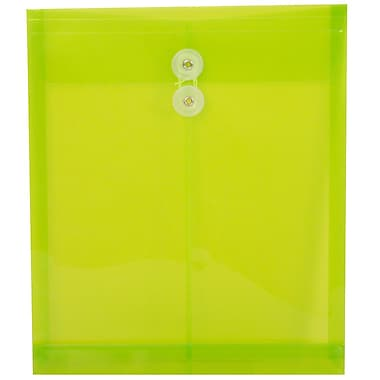 JAM Paper® Plastic Envelopes, Button and String Tie Closure, Letter Open End, 9.75 x 11.75, Lime Green Poly, 12/pack (1221561)