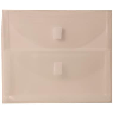 JAM Paper® Plastic 2 Pocket Envelopes, VELCRO® Brand Closure, Letter Booklet, 9.75 x 13, Clear Poly, 12/Pack (B35218)