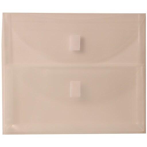 JAM Paper® Plastic Multi-Pocket Envelopes with Hook & Loop, 2 Pockets, Letter Booklet, 9.5 x 11.5, Clear, 12/Pack (B35218)