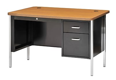 Sandusky Lee® 600 Series Steel Teachers Desk, 48W x 30D, Single Pedestal, Black/Medium Oak