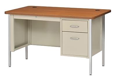 Sandusky Lee® 600 Series Steel Teachers Desk, 48W x 30D, Single Pedestal, Putty/Medium Oak