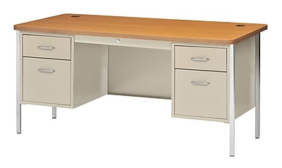 Sandusky Lee® 600 Series Steel Teachers Desk, 60W x 30D, Double Pedestal, Putty/Medium Oak