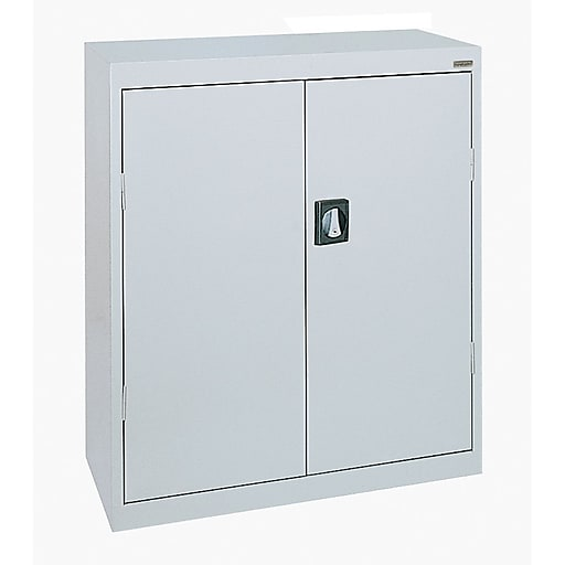"Sandusky Elite 42""H Counter Height Steel Storage Cabinet with 3 Shelves, Dove Gray (EA2R361842-05)"