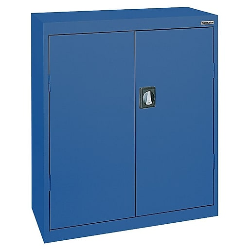"Sandusky Elite 42""H Counter Height Steel Cabinet with 3 Shelves, Blue (EA2R362442-06)"