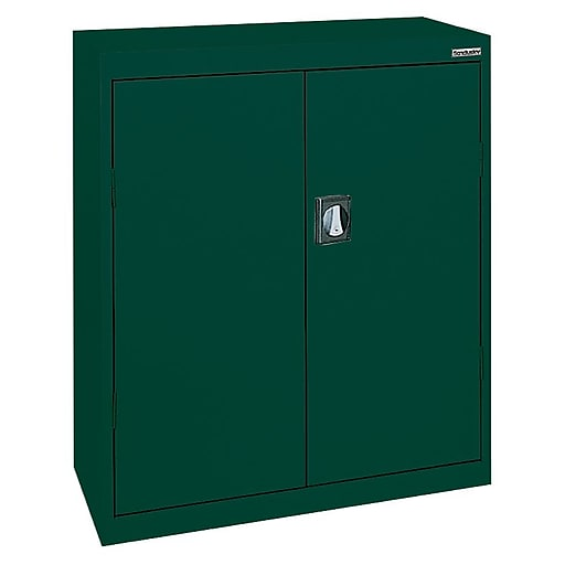 "Sandusky Elite 42""H Counter Height Steel Storage Cabinet with 3 Shelves, Forest Green (EA2R361842-08)"