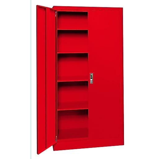 "Sandusky Elite 72""H Radius Edge Steel Storage Cabinet with 5 Shelves, Red (ER4P361872-01)"