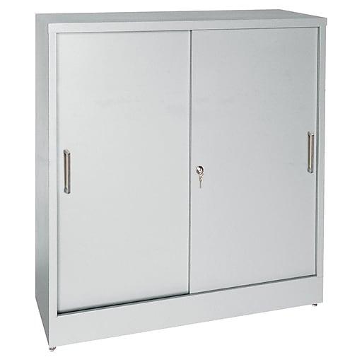 """Sandusky Elite 42""""H Counter Height Sliding Door Steel Storage Cabinet with 4 Shelves, Dove Gray (BA2S361842-05)"""