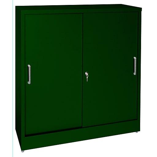 "Sandusky Elite 42""H Counter Height Sliding Door Steel Storage Cabinet with 4 Shelves, Forest Green (BA2S361842-08)"