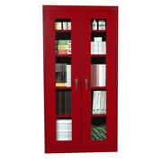 "Sandusky® See Thru 36"" x 24"" x 78"" Clearview Storage Cabinet, Red"