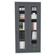 "Sandusky® See Thru 36"" x 24"" x 72"" Clearview Storage Cabinet, Charcoal"