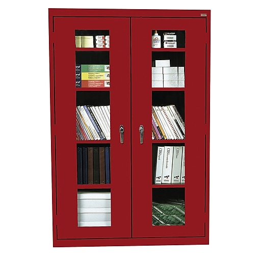 """Sandusky See Thru 72""""H Clearview Steel Storage Cabinet with 5 Shelves, Red (EA4V461872-01)"""