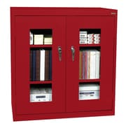 "Sandusky® See Thru 46"" x 24"" x 42"" Clearview Counter Height Storage Cabinet, Red"