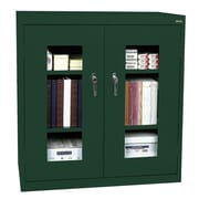 "Sandusky® See Thru 46"" x 24"" x 42"" Clearview Counter Height Storage Cabinet, Forest Green"