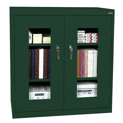 """Sandusky See Thru 42""""H Clearview Counter Height Storage Cabinet with 3 Shelves, Forest Green (EA2V462442-08)"""