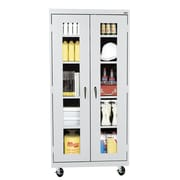 "Sandusky® See Thru 36"" x 18"" x 78"" Transport Mobile Clearview Storage Cabinet, Dove Gray"